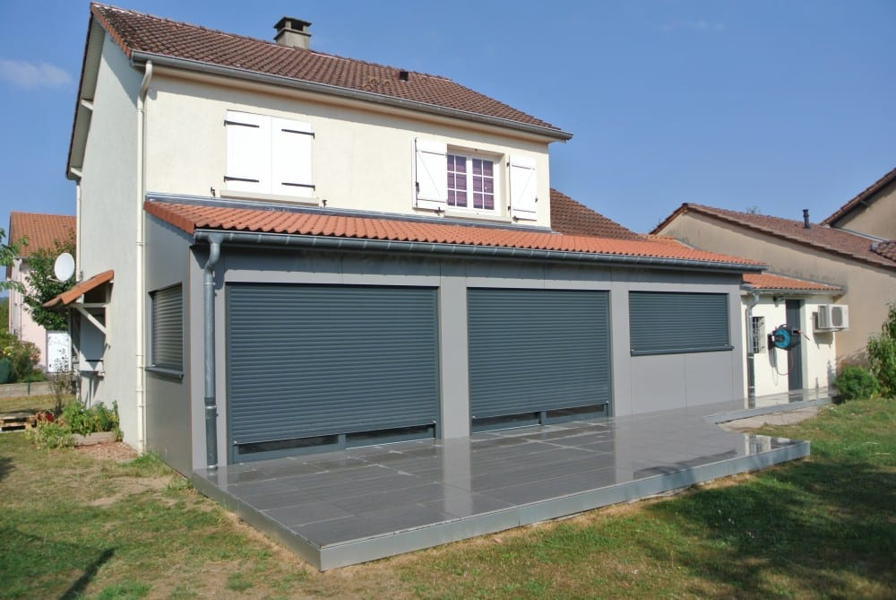 Extension ossature bois bardage composite terrasse for Extension sur terrasse
