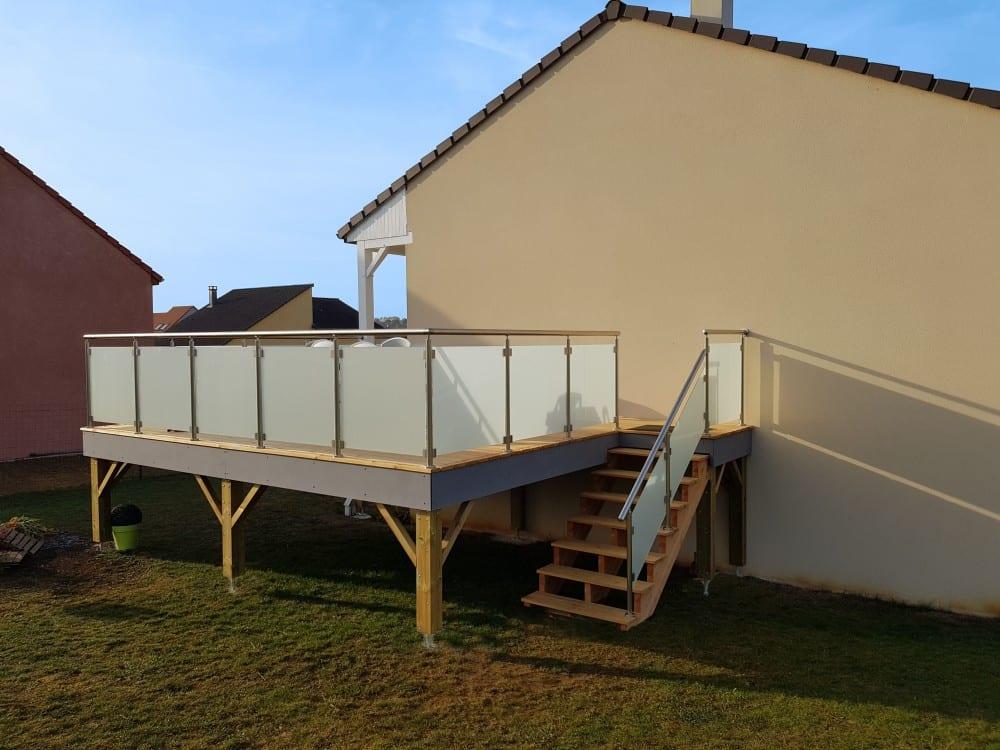 Tecnhome - Terrasse sur pilotis - Bois - Mélèze - 20m² - Mancieulles - Thionville - Metz - Moselle - Lorraine - Luxembourg