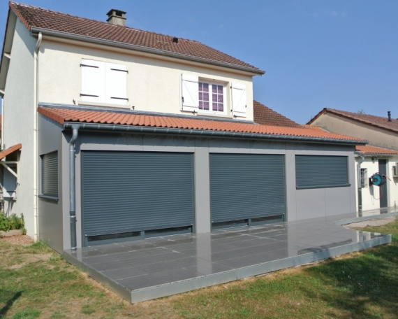 Extension ossature bois bardage composite 28 m2 for Extension maison 25m2