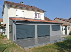 Extension Ossature bois – 25m2 – Bardage Composite – Terrasse Grès Cérame – 40 m2