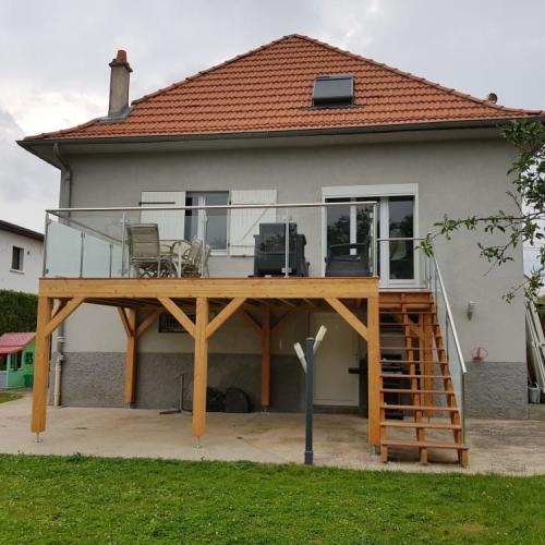 Tecnhome - Terrasse sur pilotis - Bois - Cumaru - 17m² - Montois la montagne - Thionville - Metz - Moselle - Lorraine - Luxembourg