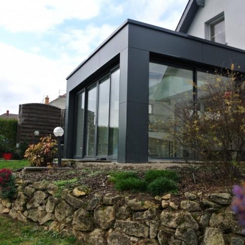 Extension ossature bois bardage composite 28 m2 for Bardage fundermax ossature bois