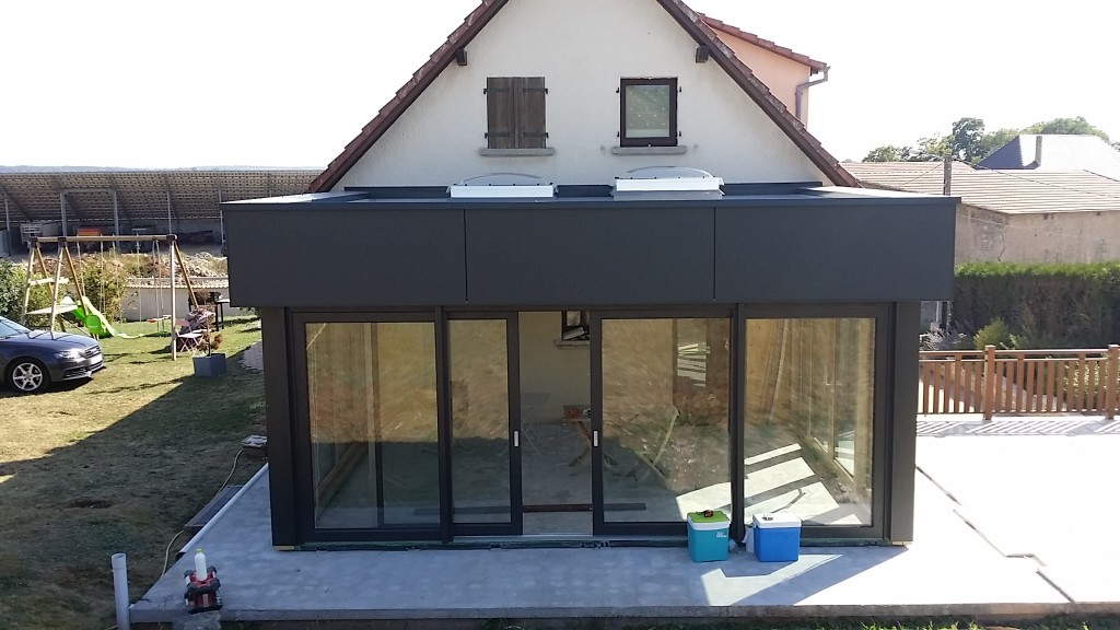 Bassing 30m2 extension ossature bois tecnhome for Cout agrandissement maison